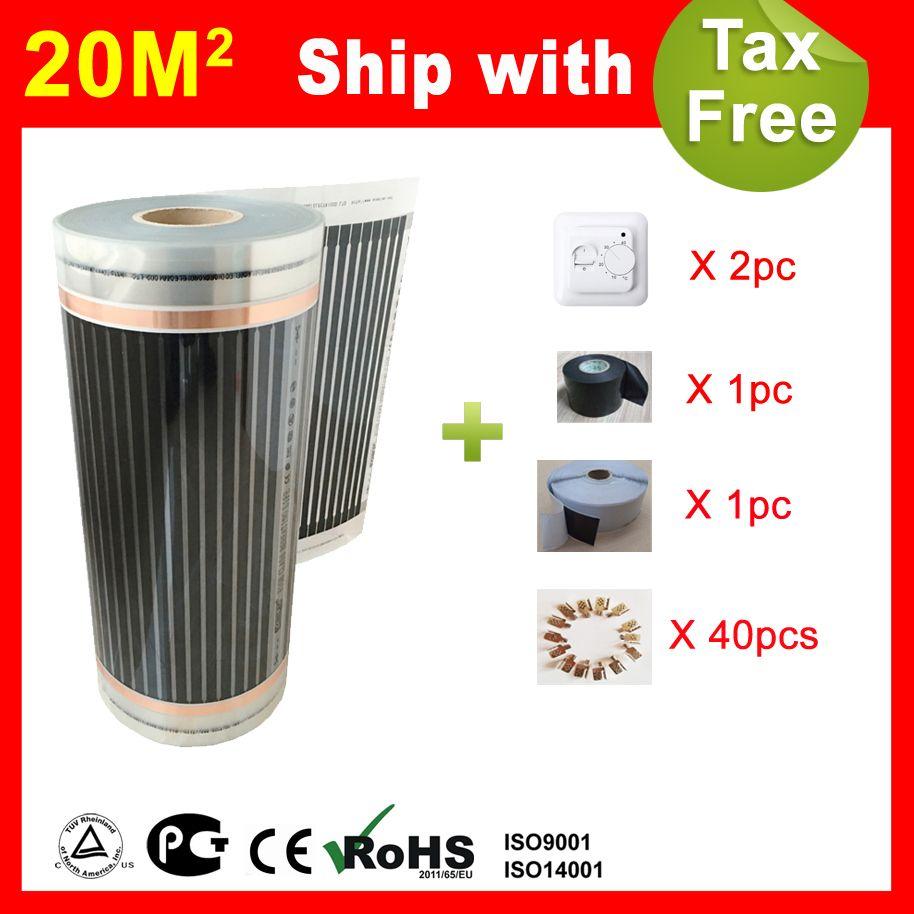 20 quadratmeter fußbodenheizung film mit thermostat und zubehör, AC220V fernen infrarot heizung für haus