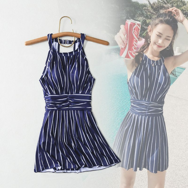 Yingfa Time-limited Real Staerk 2017 Swimsuit Female Conservative One Piece Skirt Korean Stripe Gathered Thin Belly Holiday