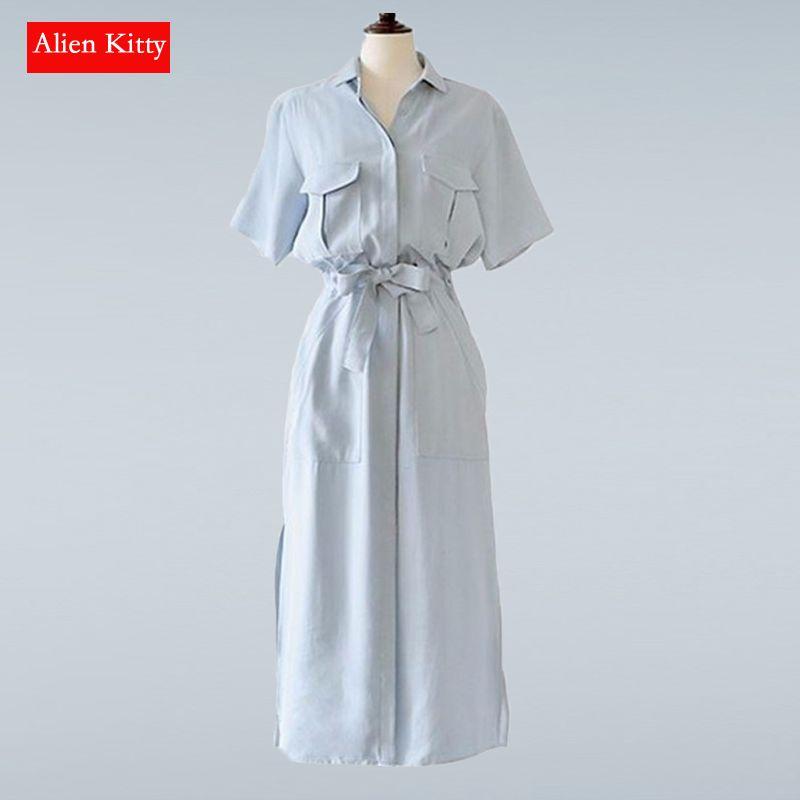 Alien Kitty chaud Style européen nouveau printemps et été à manches courtes chemise robe fente robe pour les femmes robe femmes Vestidos