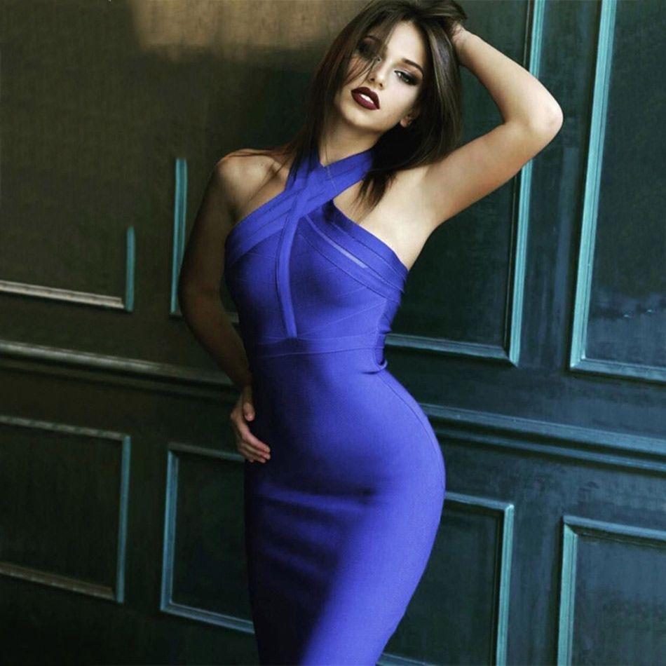 Couturière nouveau été soirée robes femmes Sexy Vestidos licou cou rouge bleu moulante Bandage robe 2019 élégant Club robe