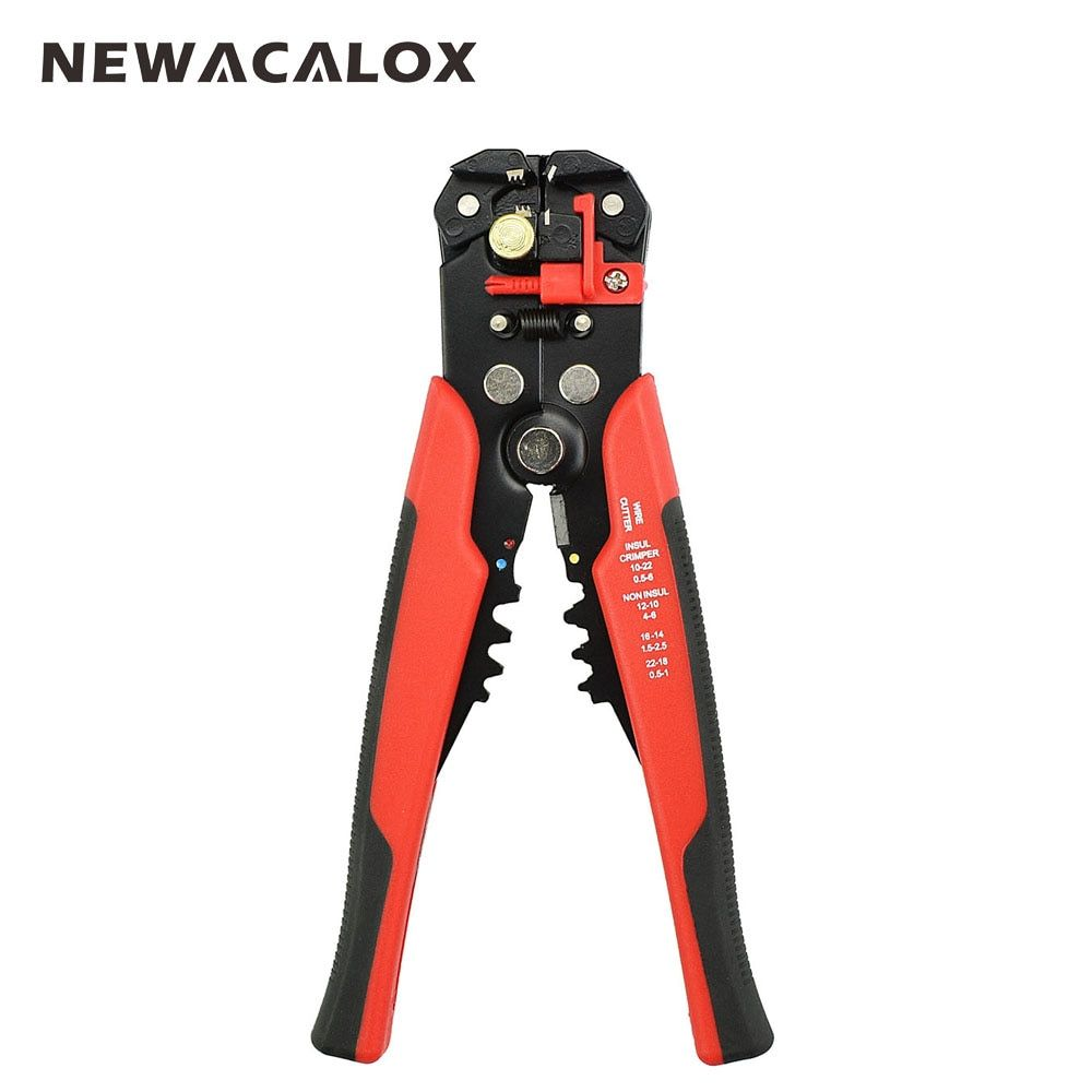 NEWACALOX Câble À Dénuder Cutter Pince À Sertir Automatique Multifonctionnel Sertissage Décapage Pince Outils Électrique