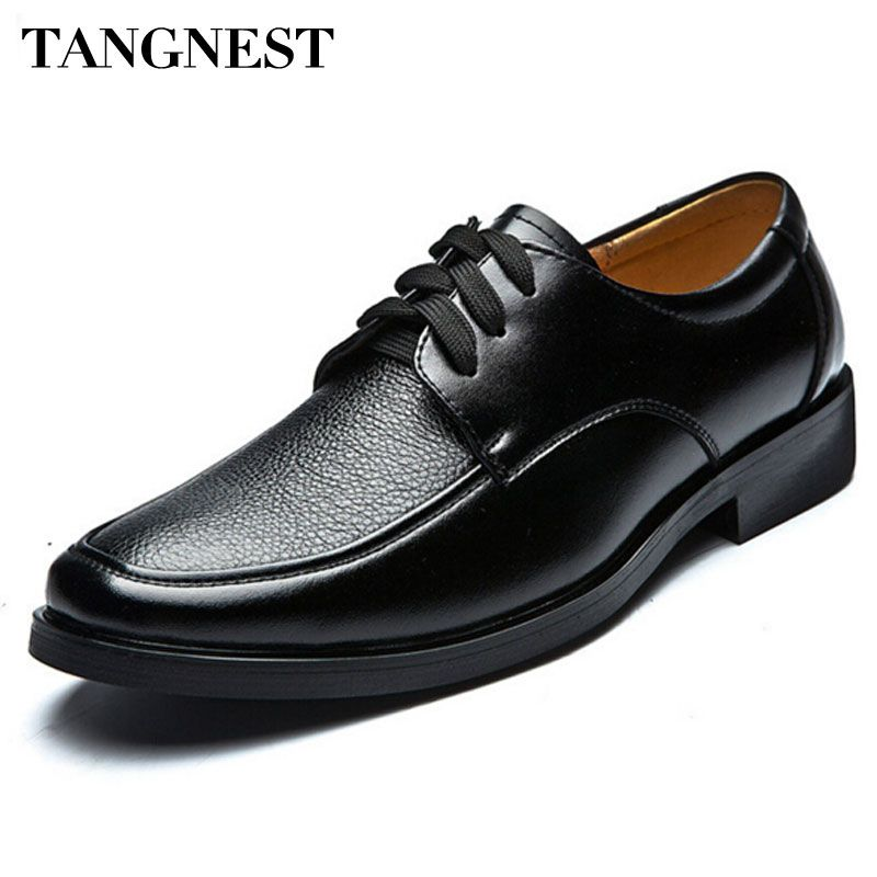 Tangnest Hot Sale Men's Business Shoes Male British Style PU Leather Dress Shoes Casual Lace Up Oxfords Flats Man XMP049