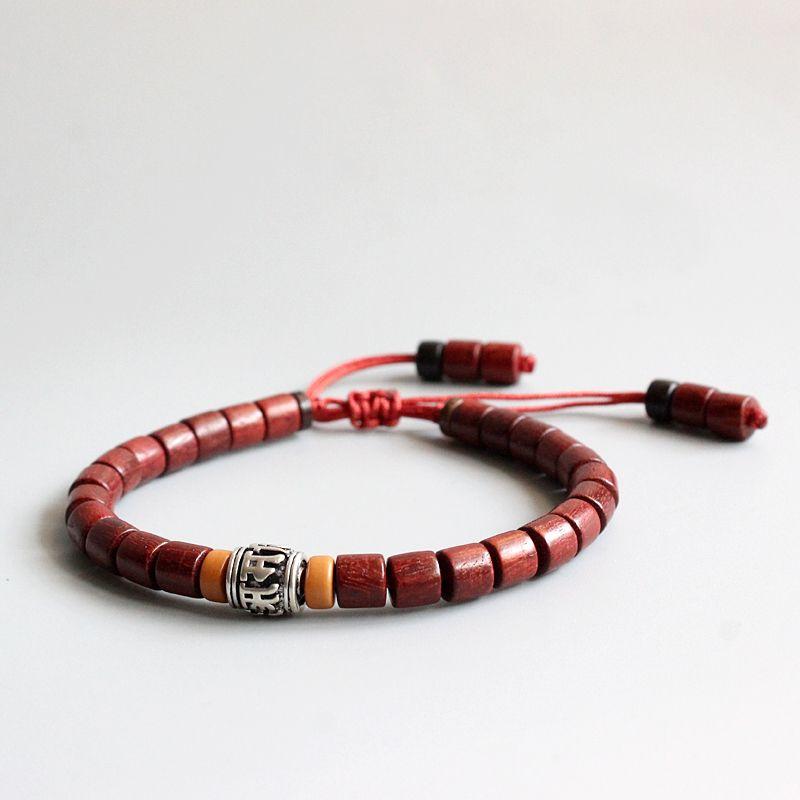 En gros tibétain bouddhiste fait à la main en cuivre blanc Mantra signe charme naturel Sanders bois Mala perles Bracelet unisexe cadeau de noël