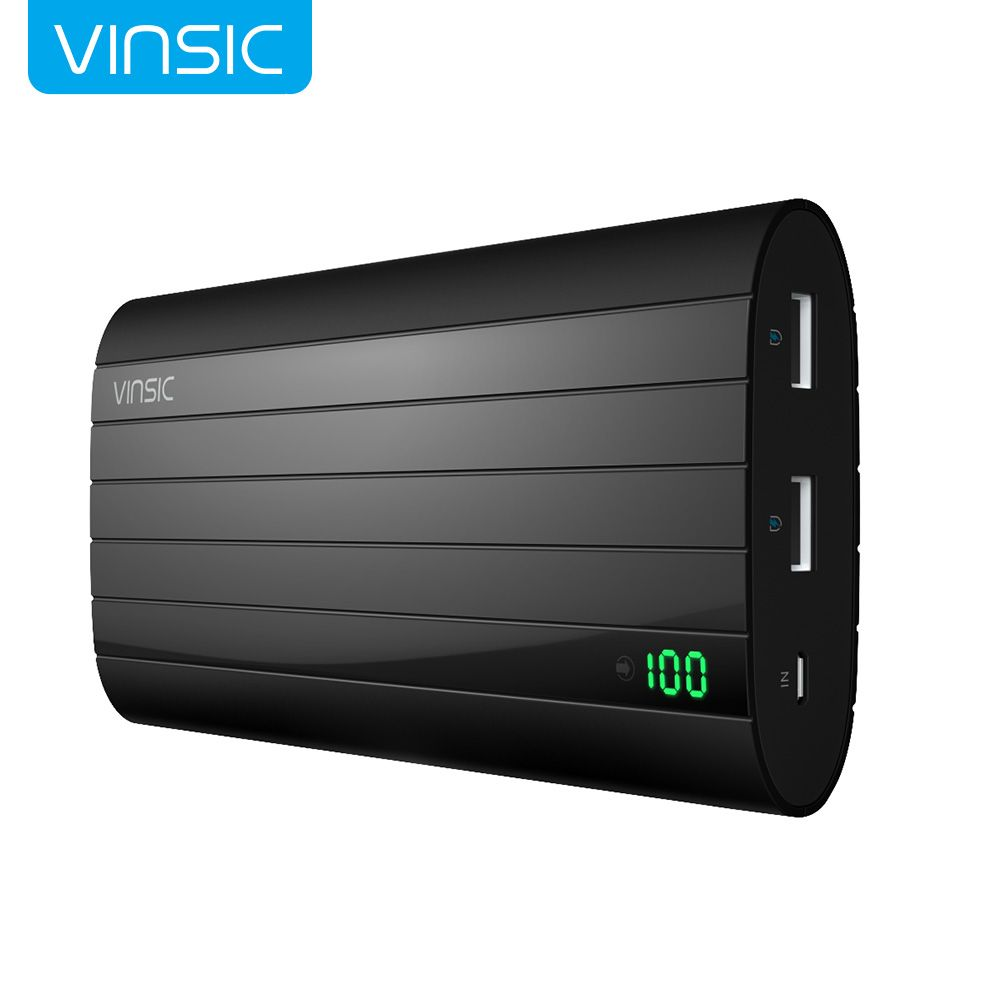 Vinsic IRON P6 20000mAh External Battery Charger Smart Identification 2.4A Dual USB Port Power Bank Universal Black