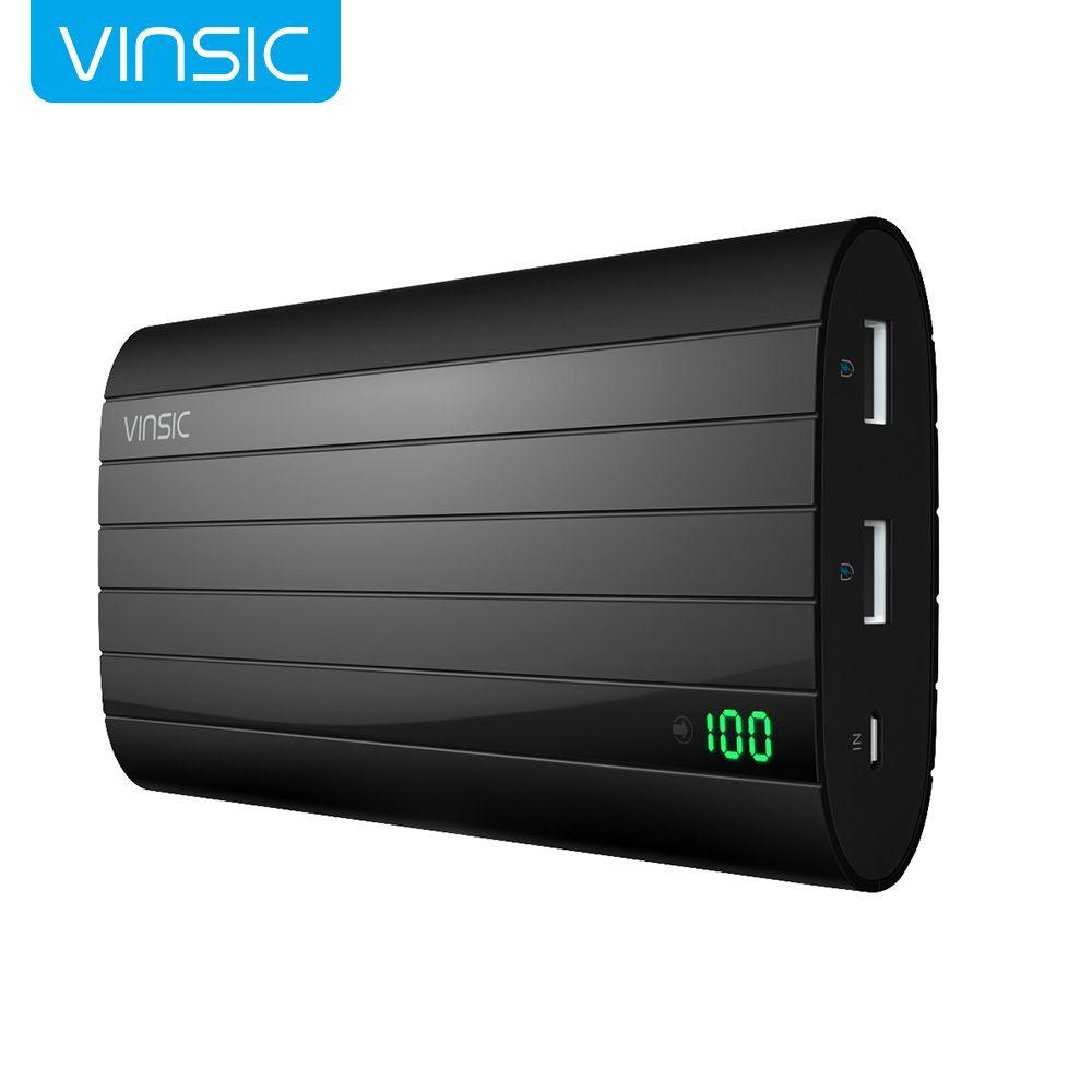 Vinsic fer p6 20000 mah externe batterie chargeur intelligent identification 2.4a double usb port power bank universel noir