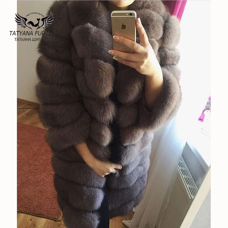 Tatyana Furclub Echtpelz Mantel Neu Kommen Winter Abnehmbare Jacke Natürliche Blau Fuchs Pelz Mantel Dicke Warme Braun Pelz Lange jacke