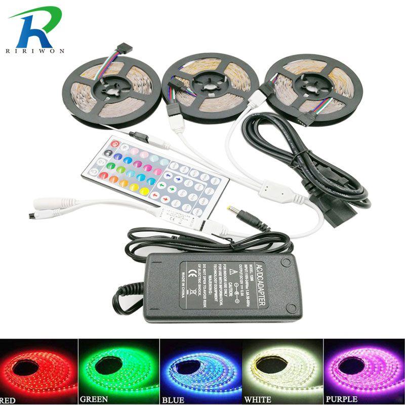 RiRi a remporté 5050 RGB led Bande lumière 30 led S 5 m 10 m 15 m flexible led s diode led bande SMD 44 touches IR contrôleur 12 V adaptateur secteur ensemble