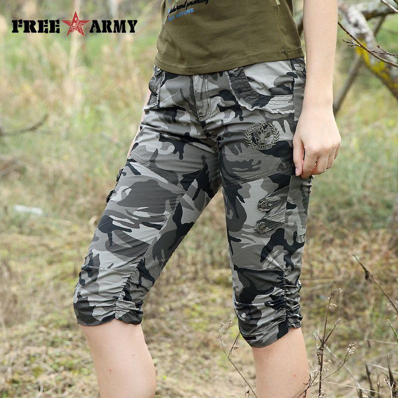 Femmes Combat tactique Capris Camouflage survêtement pantalon nouveau 2017 Camo imprimer pantalons de survêtement s décontracté Cargo pantalon grande taille 26-31