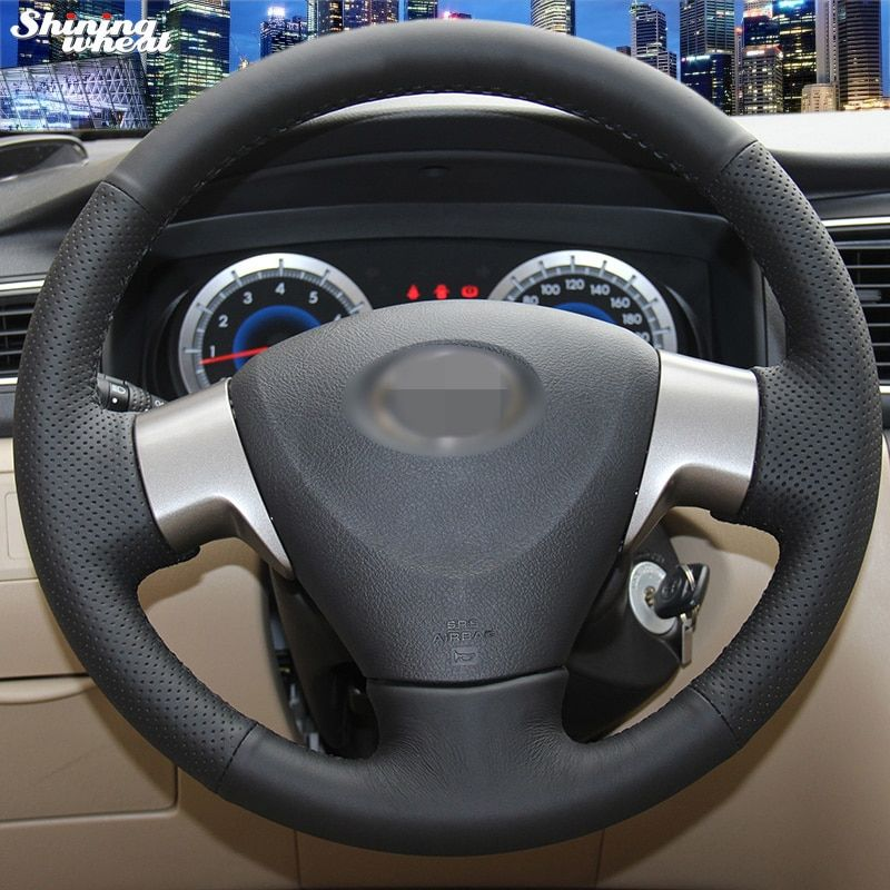 Shining wheat Hand-stitched Black Leather Steering Wheel Cover for Toyota Corolla 2006-2010 Toyota Corolla EX