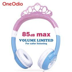 Oneodio Cute Headphone For Girls Bling Princess Crown Frozen Safety Kids Headbands Headset Earphone For Xiaomi Birthday Gifts