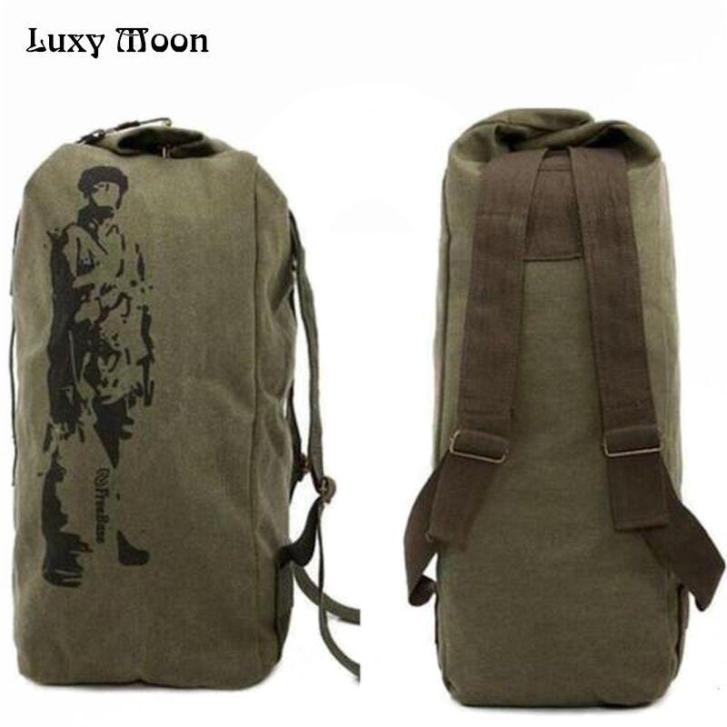 Nuevo 2017 de la lona mochila de Gran capacidad mochila informal Ejército Cubo Bolsa Multifuncional Mochila de Lona Bolsa de Lona Militar