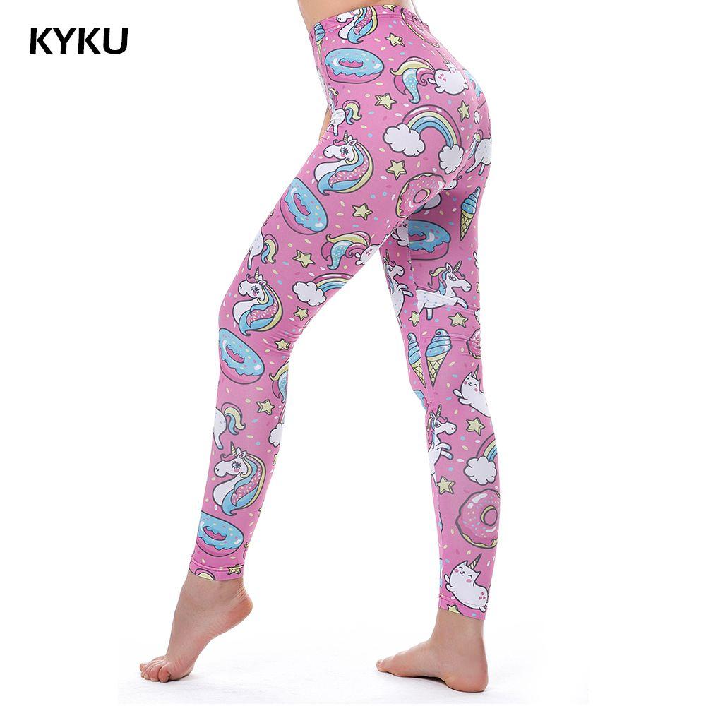 KYKU marque licorne Leggings femmes Leggins Fitness Legging Sexy pantalon taille haute Push Up brillant 3d imprimé arc-en-ciel étoile chat beignets