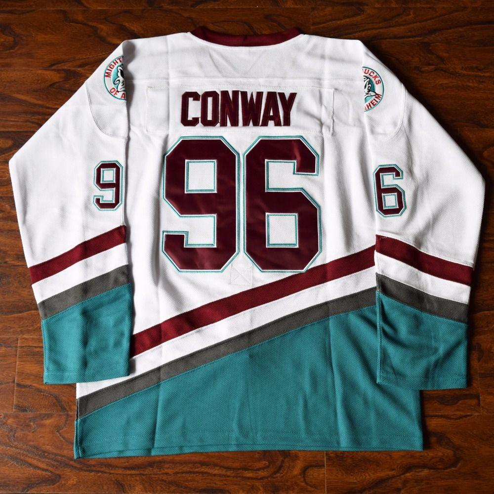 MM MASMIG Charlie Conway #96 Mighty Ducks Ice Hockey Jersey Stitched White