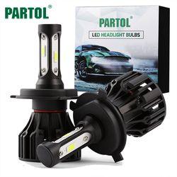 Partol T5 H4 H7 H11 H1 9005 9006 H3 9007 COB Светодиодный фар 72 Вт 8000lm все в одном автомобиле светодиодный Фары для автомобиля лампы Туман Light 6500 К 12 В 24 В