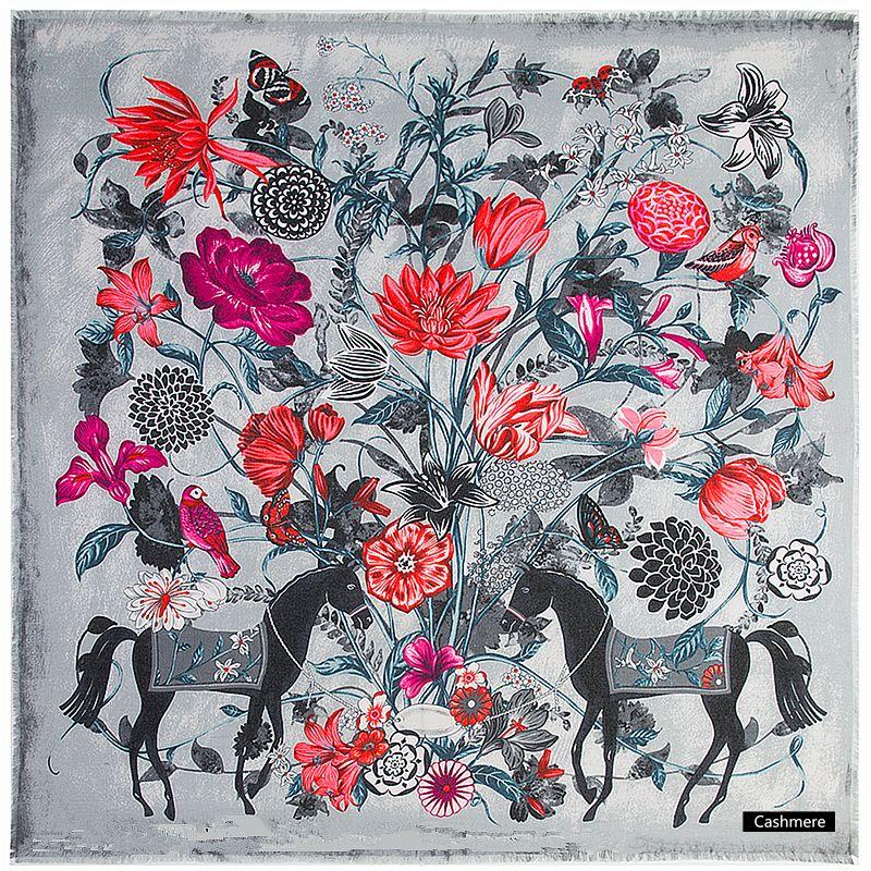Écharpe d'hiver de marque de luxe en cachemire foulards carrés espagne cheval Rose fleur imprimé foulard femmes châles Wrap Hijab 130 CM