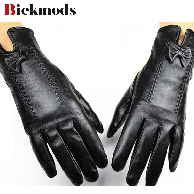2017 Eldiven Female Points Finger Leather Gloves Lining Sheepskin Autumn And Winter <font><b>Weatherization</b></font> Protective Cover Shipping
