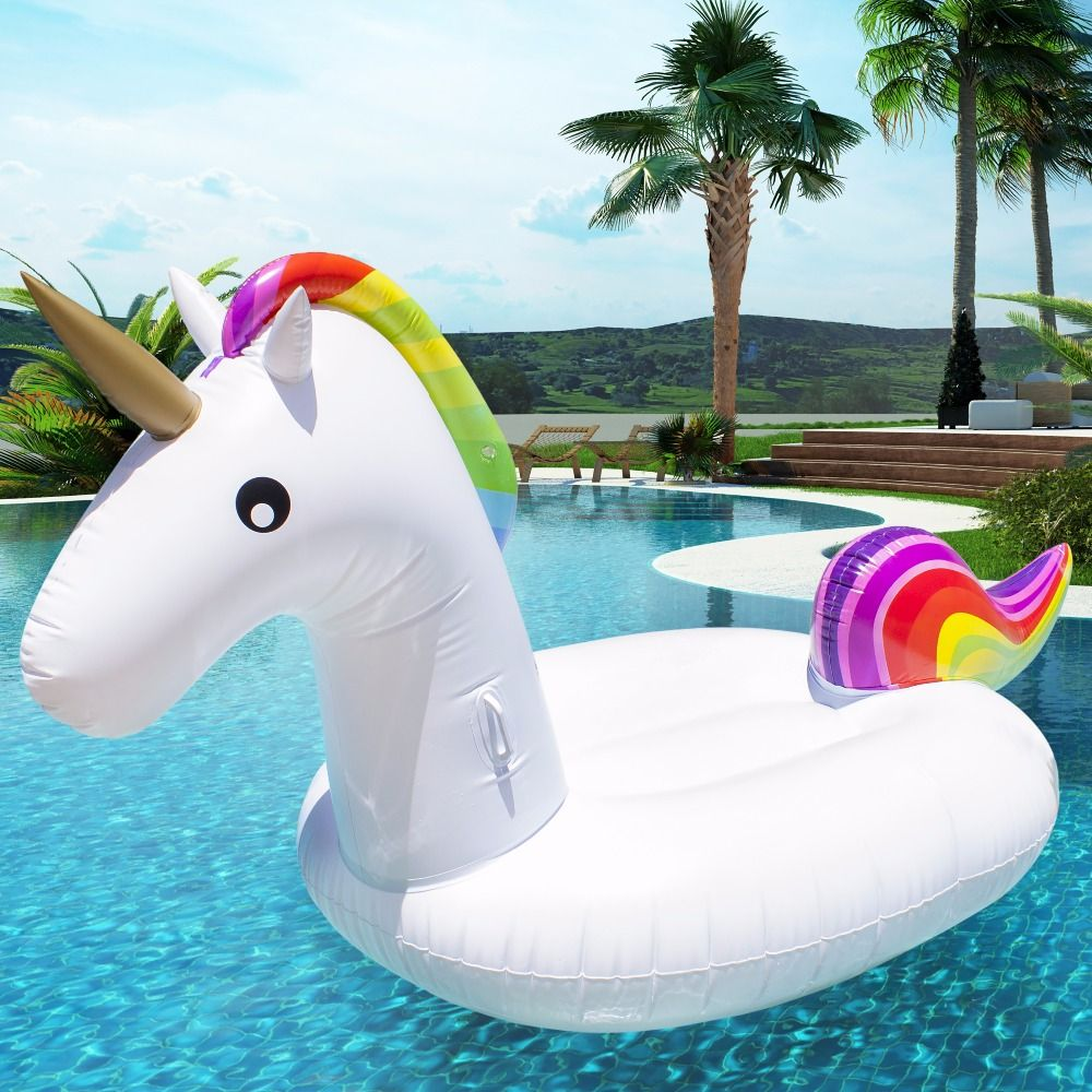200CM Giant Inflatable Unicorn Pool Float for Adult Tube Raft Kid Swimming Ring Float 2018 Summer Water Toy Party Supply Piscina