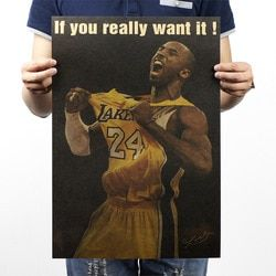 Kobe Bryant Really Want It Vintage Kraft Paper Movie Poster Home Wall Decoration  Art Magazines  Retro Posters and Prints