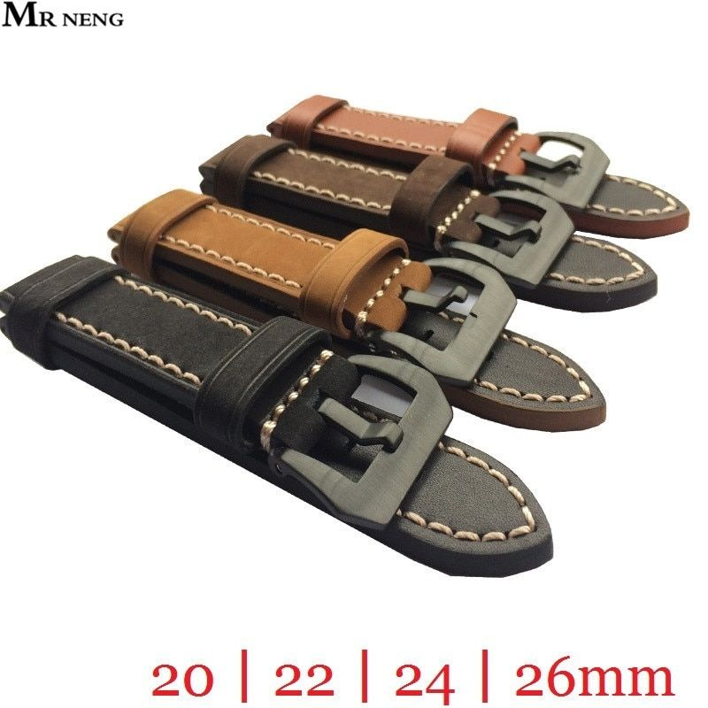 MR NENG 20mm 22mm 24mm 26mm Leather Watch Strap Watch Band Man Watch Straps Black Brown <font><b>green</b></font> with Stainless Steel Black Buckle