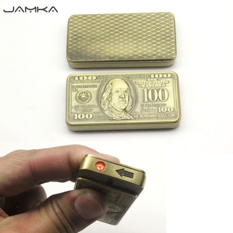 Creative Dollar factures Sans Flamme Droite coupe-vent Allume-cigare Gonflable Gaz Butane En Métal Juste Relief Briquets Meilleur Cadeau