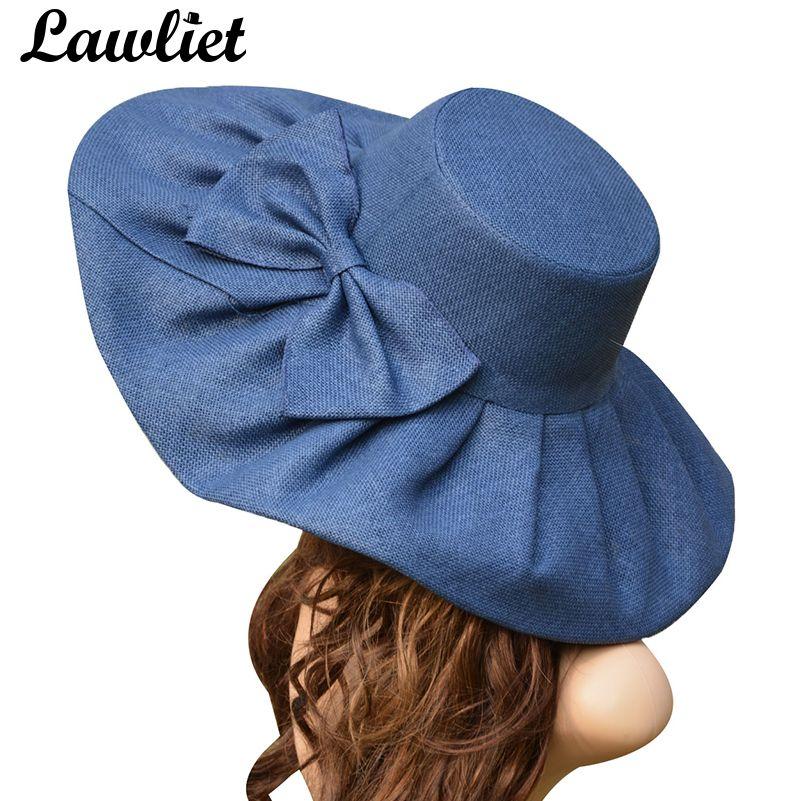 Énorme chapeau de soleil en lin femmes Kentucky Derby large bord chapeau de soleil de mariage église plage chapeaux pour femmes disquette dames chapeau nœud détail A047