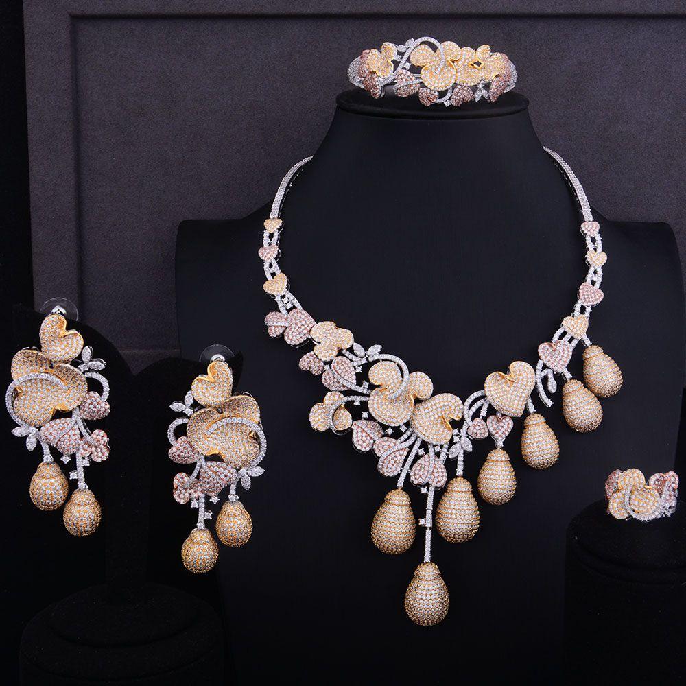 GODKI Luxury Flower Bud 3 Tone Women Nigerian Wedding Bride Cubic Zirconia Necklace Dubai 4PCS Jewelry Set Jewellery Addiction