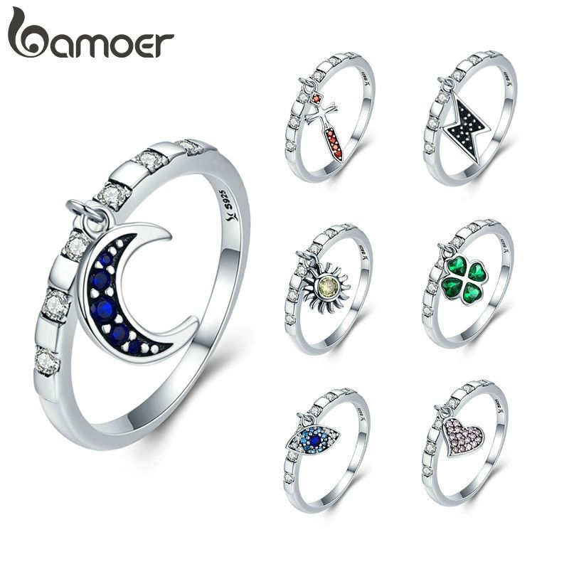 BAMOER 925 Sterling Silver 7 Styles Day Ring Monday to Sunday Moon Lucky Eye Heart Dangle Female Ring for Women Silver Jewelry