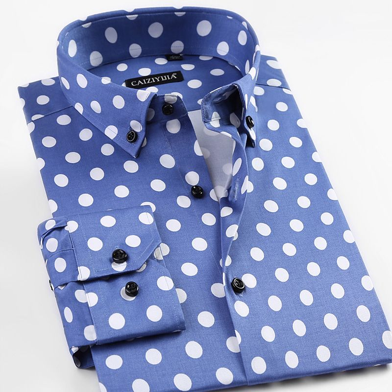 Youth Casual Men's Long Sleeve Polka Dot Pattern Dress Shirt Comfy Soft Slim-fit Male Button-down Tops Shirts For All Year Round