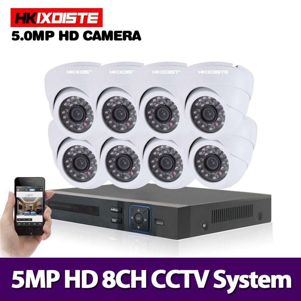 HKIXDISTE 8CH 5MP Ultra HD CCTV Kamera System 5 IN 1 H.265 + DVR Und 8PCS 5MP AHD indoor weiß Home Security Surveillance System
