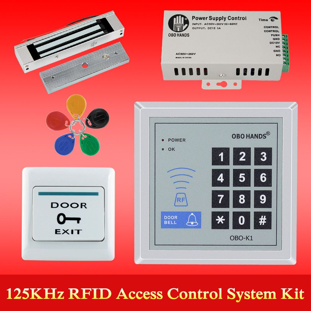 OBO HANDS rfid keypad door access control system kit electric Magnetic electronic door lock+power supply+5pcs key fobs full set