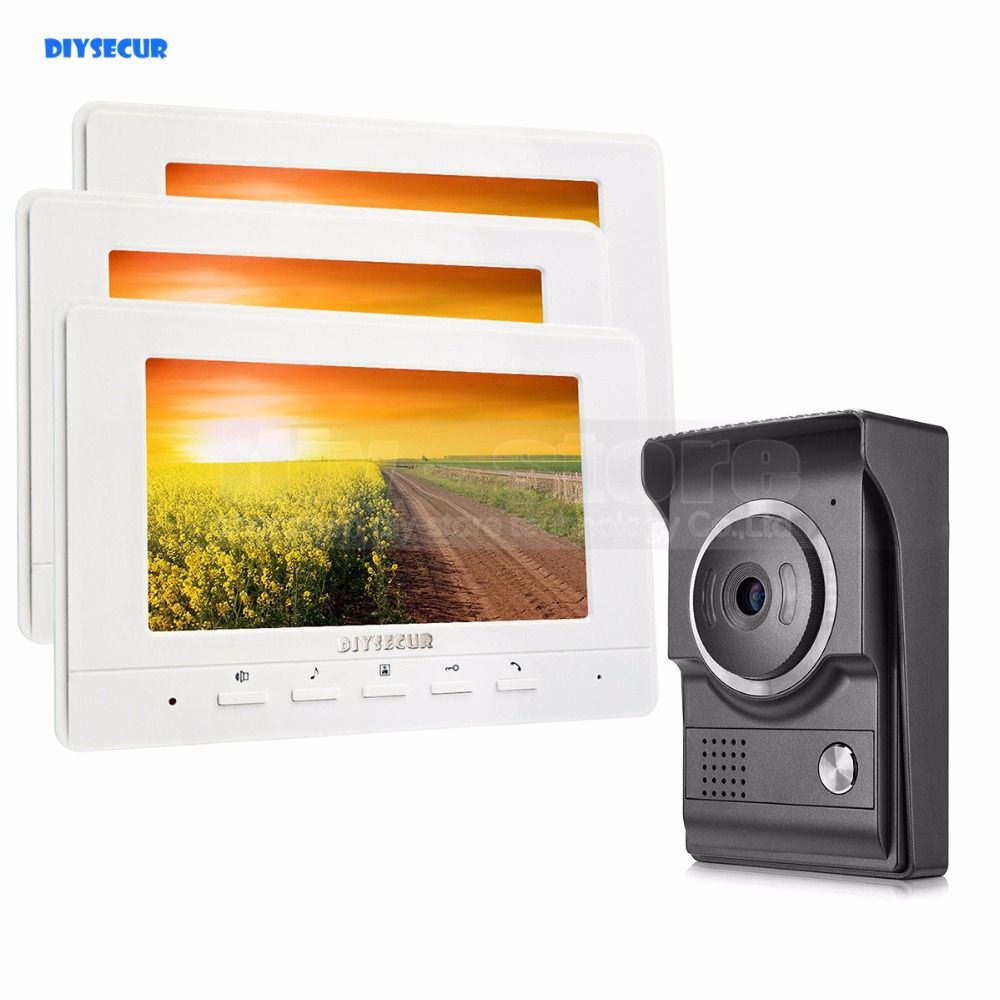 DIYSECUR 7inch Video Intercom Video Door Phone 700TV Line IR Night Vision HD Camera for Home Office Factory White 1V3