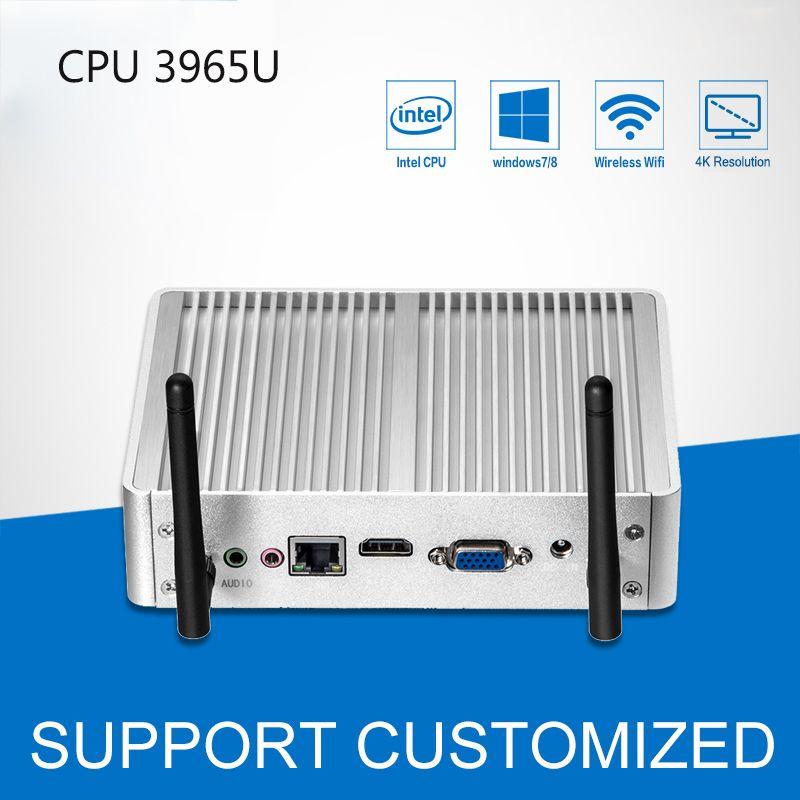 Fanless Mini PC DDR3 RAM 4K Resolution Windows 10 Mini Desktop <font><b>Office</b></font> Computer Celeron 3965U 300M WIFI HDMI USB HTPC TV Box