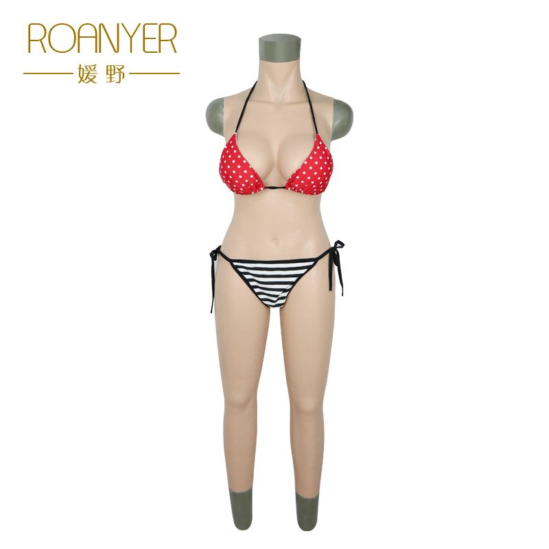 Roanyer transgender silicone breast forms shemale whole body suits female artificial boobs penetrable fake vagina for crossdress