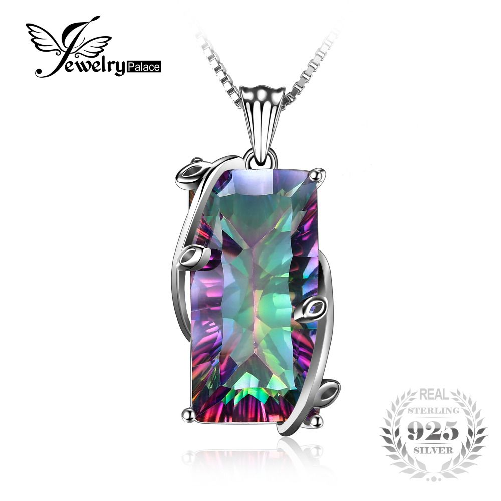 JewelryPalace 16ct Natural Fire Rainbow Mystic Topaz Necklace Charm Solid 925 Sterling Silver Vintage Fashion Women Jewelry