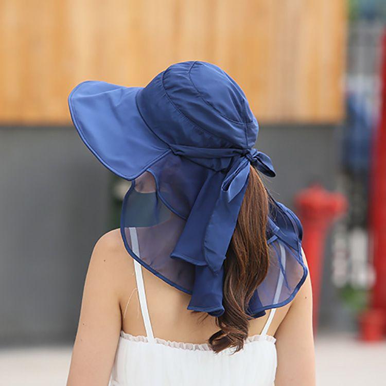 Chapeaux de soleil avec Protection du cou du visage pour les femmes Sombreros Mujer Verano capuchon de visière d'été à large bord Anti-UV Chapeu Feminino extérieur