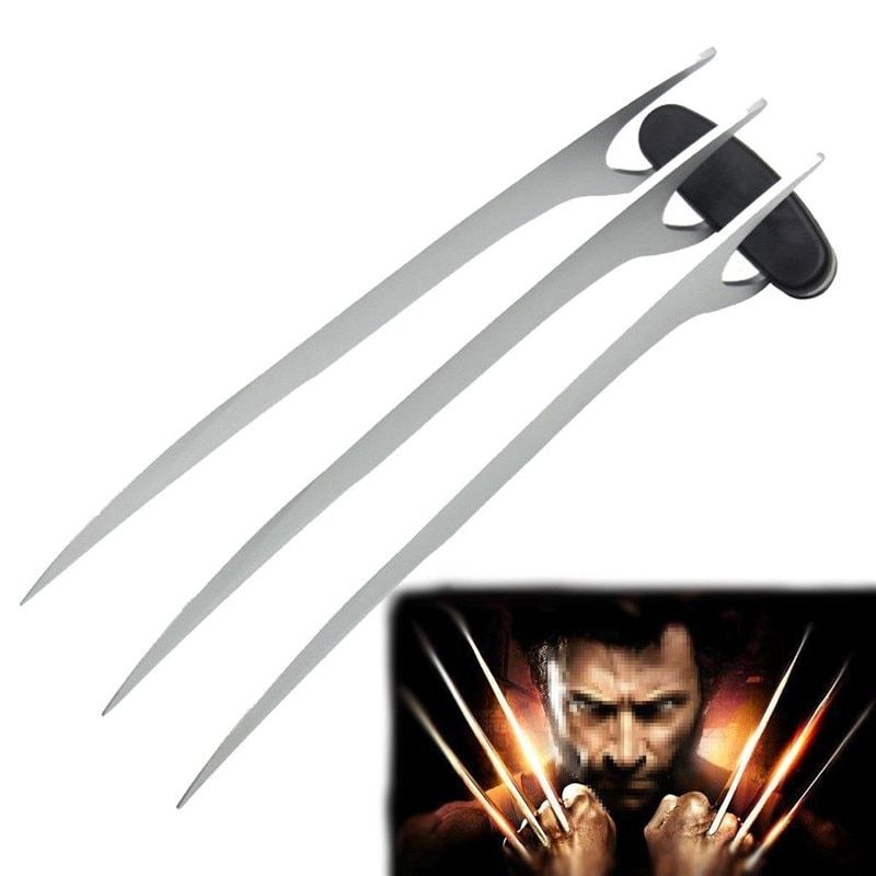 2pcs Movie X-Men Wolverines Logan Stainless Steel Blade Wolve Claw Paw Cosplay Prop for Halloween Super Hero Cosplay Weapon Toy
