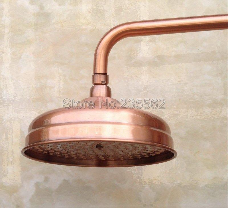 Antique rouge cuivre 8 pouces pluie pomme de douche salle de bain douche accessoire lsh054