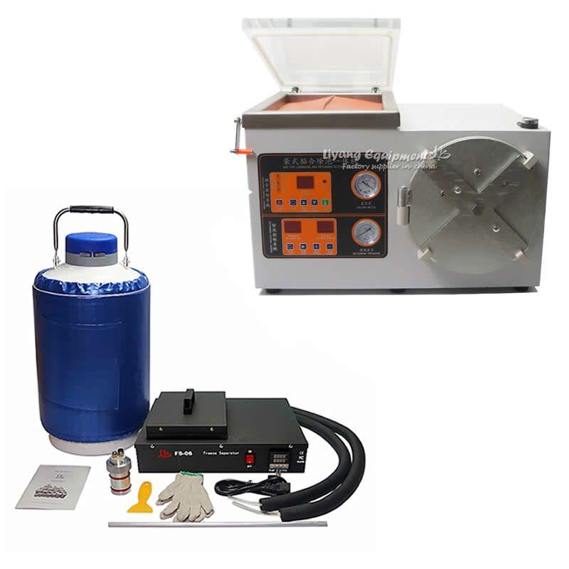 Vollen satz mobile lcd reparatur OCA laminieren maschine FS-06 flüssigkeit stickstoff gefrorene Separator Blase entschäumer
