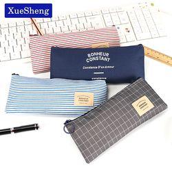 Краткое стиль сетки полосы холст сумка для карандашей Канцелярия хранения Пенал ШКОЛЬНЫЙ подарок канцелярские поставки