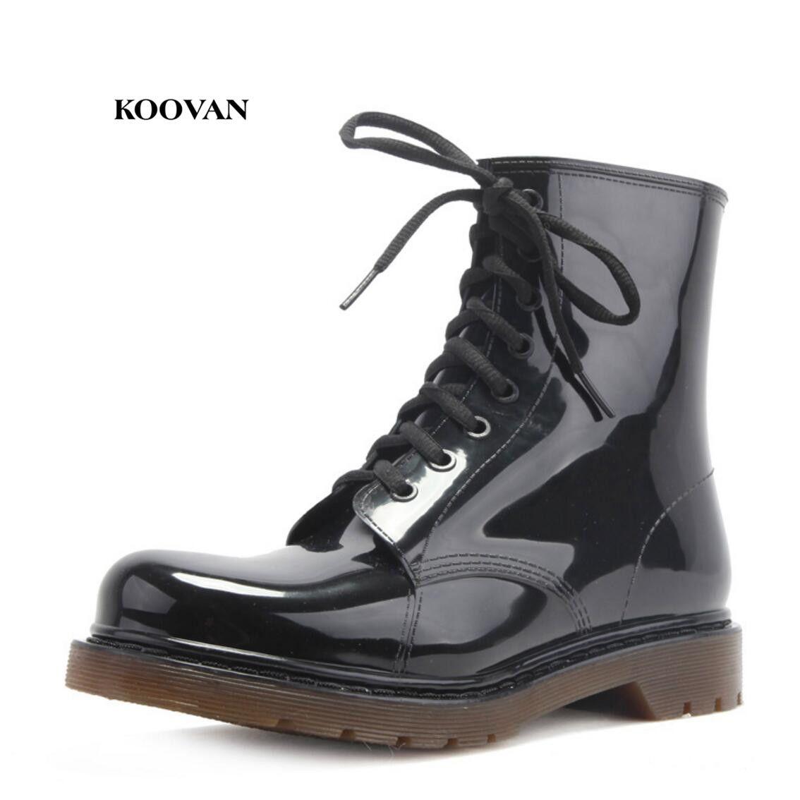 Koovan homme bottes de pluie 2018 nouvelle mode hommes chaussures bottes de pluie hommes en cuir noir bottes chaussures de pluie grande taille 39-45