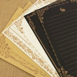 8 sheets/set European Vintage Style Writing Paper Letter Good Quality Culture Stationery Kraft Letter Office