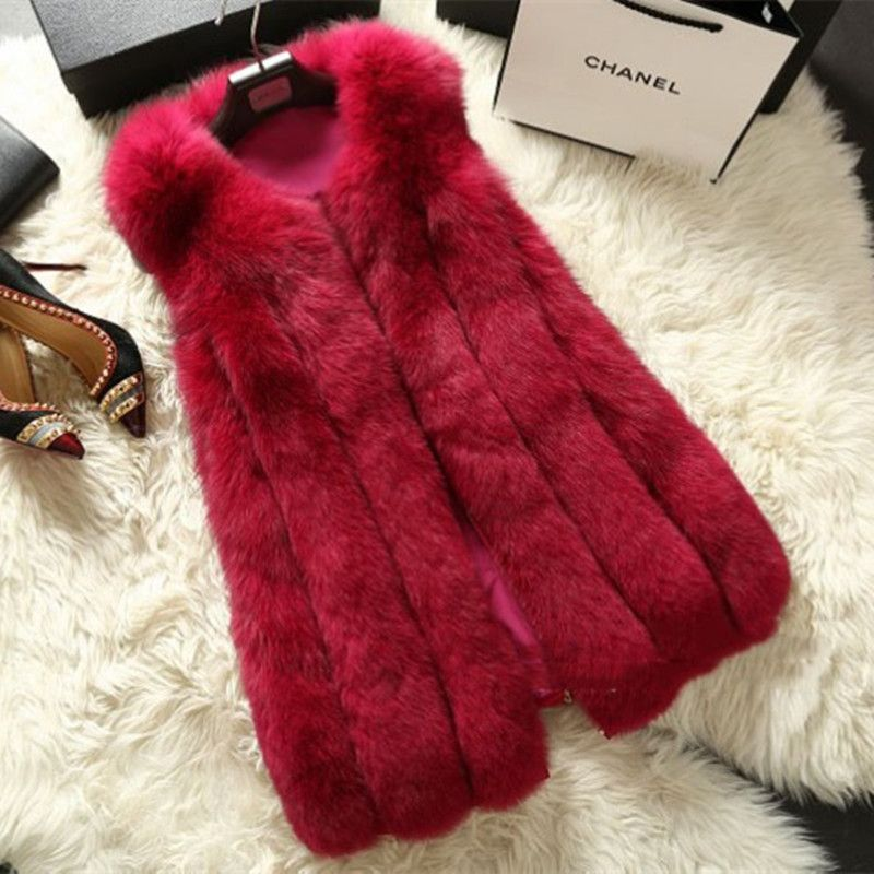 Lady Fashion Genuine Nature Whole-hide Fox Fur Vest Waistcoat Winter Women Fur Gilet Outerwear Coats VK1473