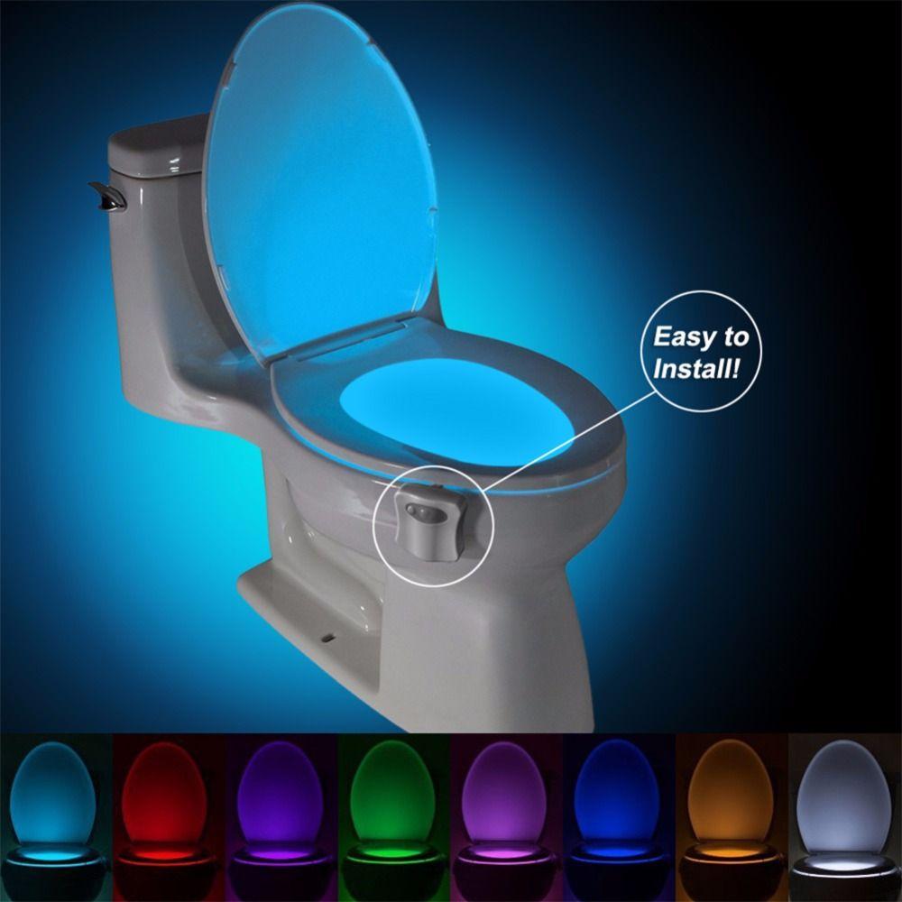 Сенсор Туалет светодиодные лампы человеческого движения Активированный ПИР 8 цвета автоматический RGB ночного освещения
