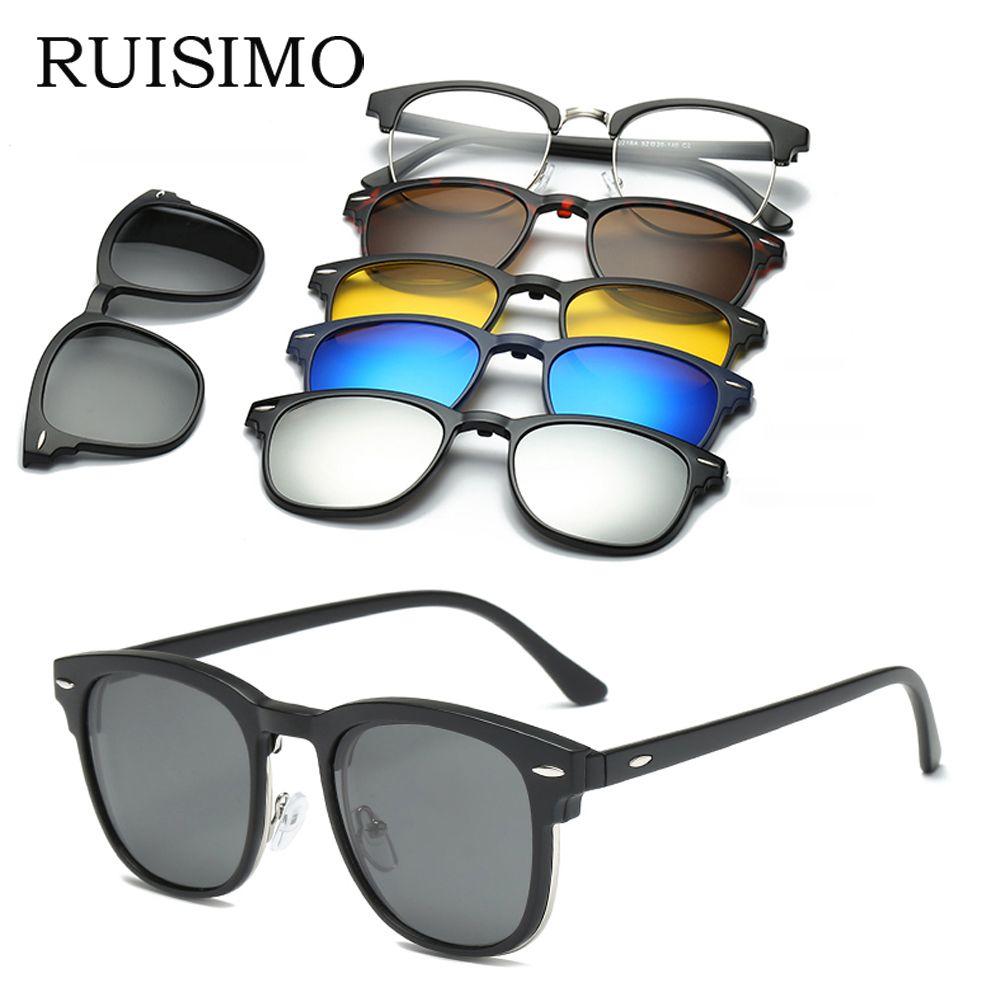 RUISIMO 5 lenes Lunettes De Soleil Aimant Clip Miroir Clip sur lunettes de Soleil clip sur lunettes Hommes Polarisées Prescription Sur Mesure Myopie
