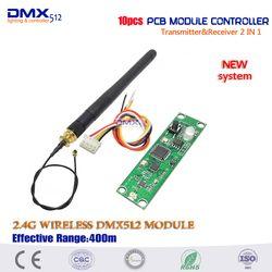 2017 Nouveau système dmx512 contrôleur 10 pcs Émetteur et Récepteur 2 en 1 Sans Fil DMX512 Contrôleur PCB Module de Mise À Niveau stade éclairage