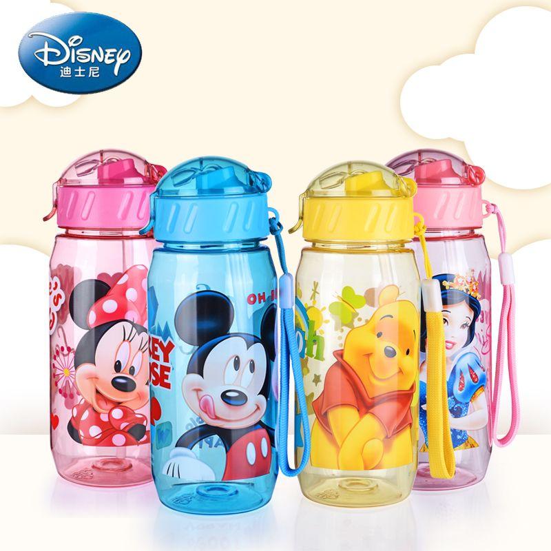 Disney Bebé la Alimentación Con Biberón con paja de Dibujos Animados Mickey Minnie Encantadora Ecológico Con tapa Portátil Taza PC Mi Botella de Los Deportes 400 ML