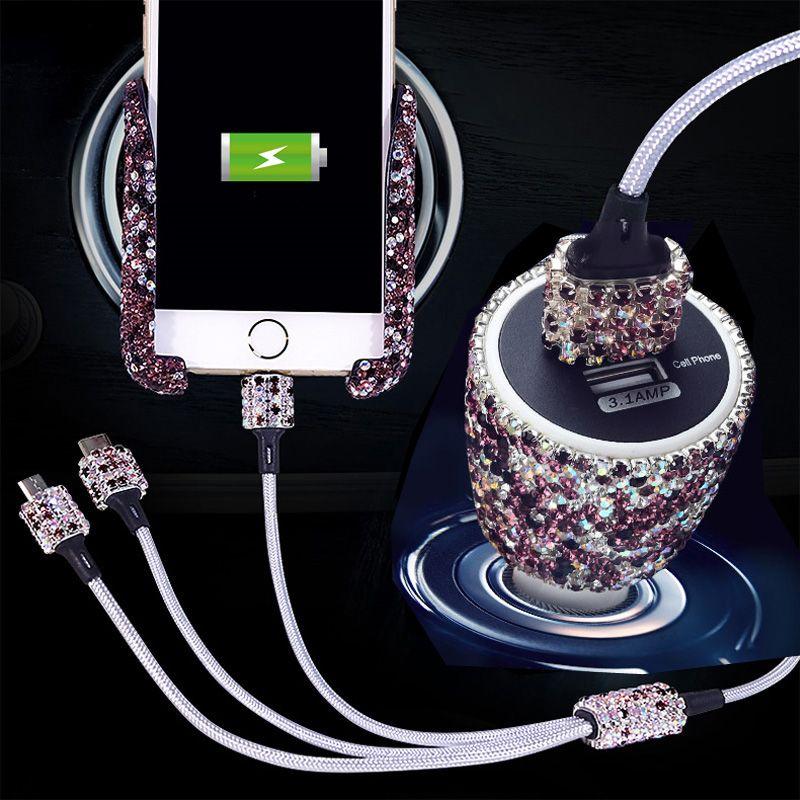 Rhinestones Gravity Car GPS Stand Phone Holder Air Vent Mount Diamond Crystal Load-bearing Navigation Bracket USB Fast Charger