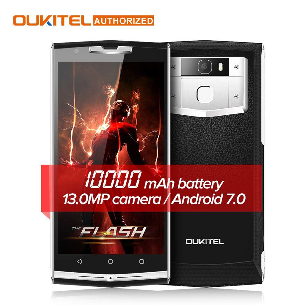 $30 Cadeau Sac!! 10000 mAh Charge Rapide Oukitel k10000 pro 4G Mobile Téléphone 5.5 ''FHD 3 GB 32 GB Android 7.0 13.0MP Arrière Smartphone