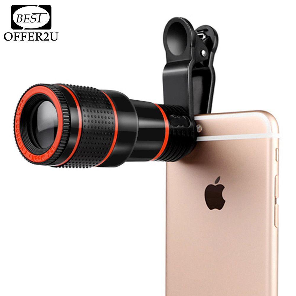 HD Téléphone Portable Téléobjectif 12X Zoom Télescope Optique Lentille De Caméra avec Clips Pour iphone 4S 5S 6 s 7 tous les Téléphones Pas de Coin Sombre