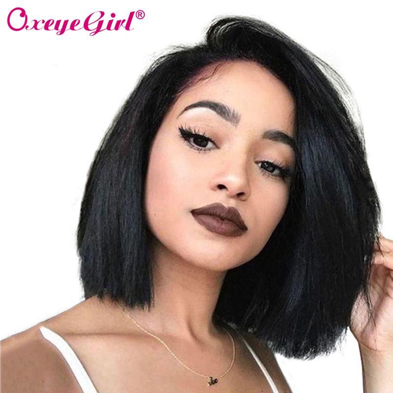 150% Density Bob Wig 13x6 Lace Front Human Hair Wigs For <font><b>Black</b></font> Women Short Bob Wigs Straight Human Hair Brazilian Wig Oxeye girl